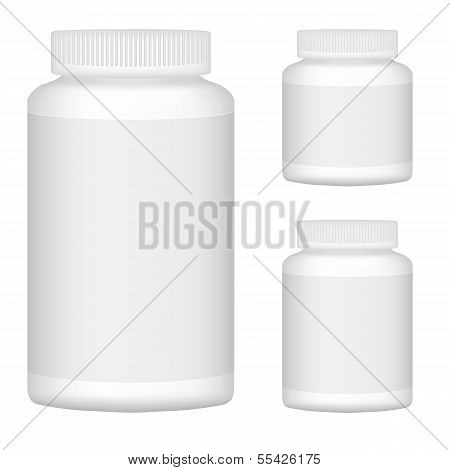 White Blank Plastic Bottle Set For Packaging Design