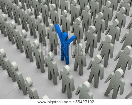 Unique Person In Crowd.