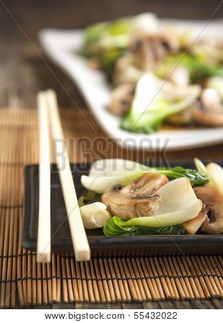 Stir Fried Bok Choy With Mushrooms. Small Depth Of Field.
