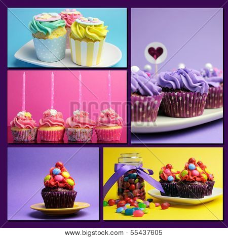 Colorful Collage Of Bright Color Cupcake