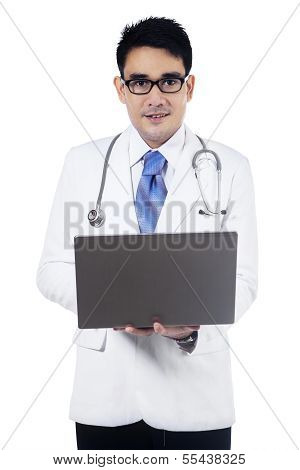 Male Doctor Using A Laptop