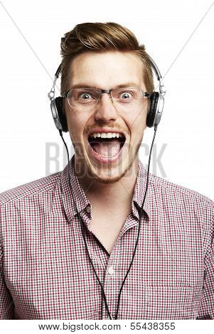 Listening To Music And Singing With Headphones