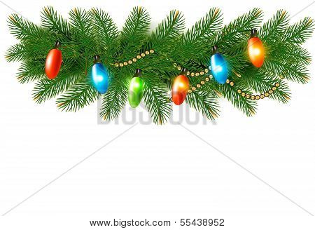 Christmas Background With Colorful Garland And Fir Branches. Vector.