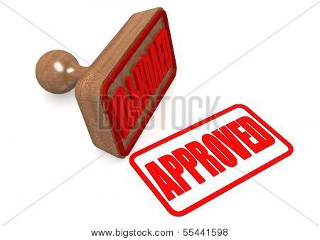 Approved word on wooden stamp