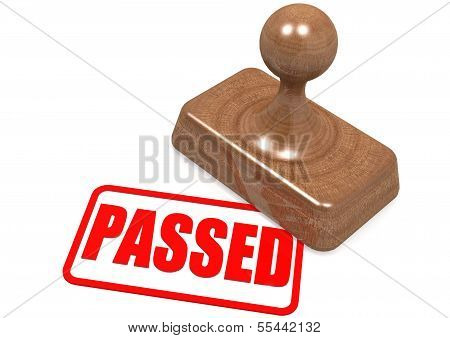 Passed word on wooden stamp