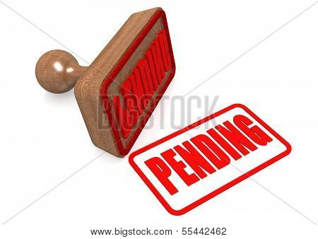 Pending word on wooden stamp