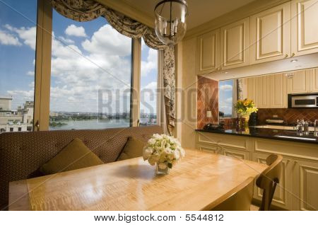 Dining Table In Kitchen Nook Penthouse New York