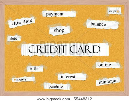 Credit Card Corkboard Word Concept