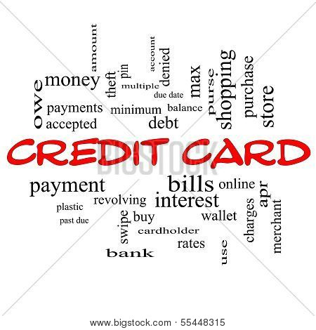 Credit Card Word Cloud Concept In Red Caps