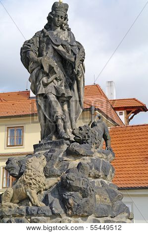 Ancient Sculpture On The Charles Bridge. Prague. Saint Vitus