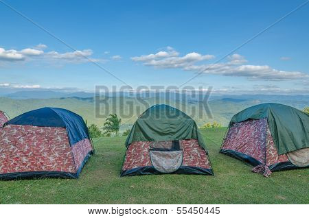 Row Of Tent On Hill
