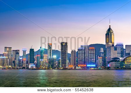 HONG KONG - OCTOBER 15: Hong Kong Island skyline October 15, 2012 in Hong Kong, China. Hong Kong is one of the densest areas in the world with a population of 7 million and land mass of 1,104 km2.