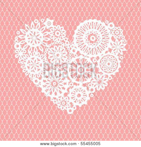 White crochet lace flowers heart on pink mesh romantic greeting card, vector background