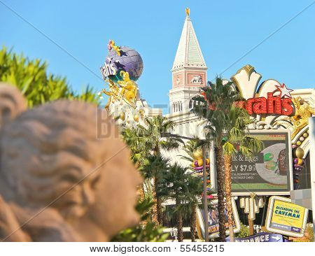 Sculpture In Caesar's Palace Of The Urban Landscape  In Las Vegas