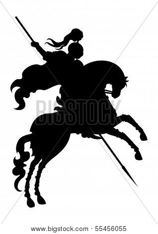 Silhouette Of Champion Knight On A Horse