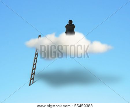 Businessman Sitting And Thinking On Cloud