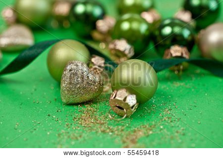 Christmas Ornaments In Various Green Tones
