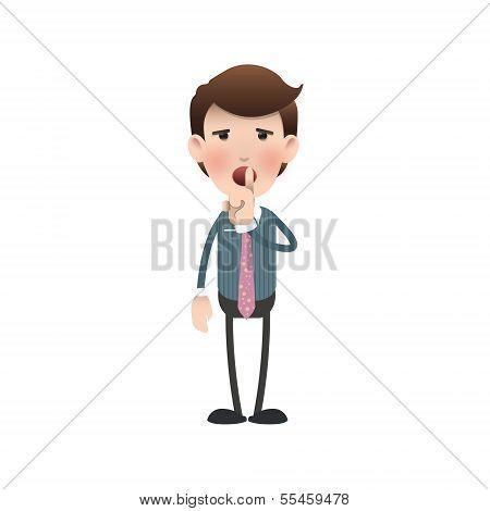 Businessman Making Silence Gesture Over White Background. Vector Design