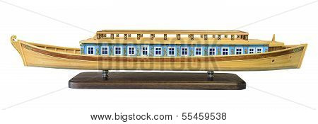 Layout Of The Old Russian Wooden Barges To Travel Along The Rivers On The White Background. (isolate
