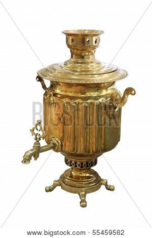 Old Russian Samovar On White Background, Isolated