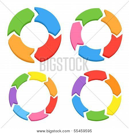 Color Circle Arrows Set For Infographics
