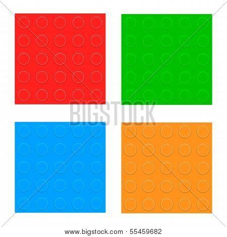 Plastic Constructor Blocks. Seamless Pattern Set