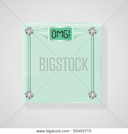 Glass Scales With OMG Text. Weight Loss Concept