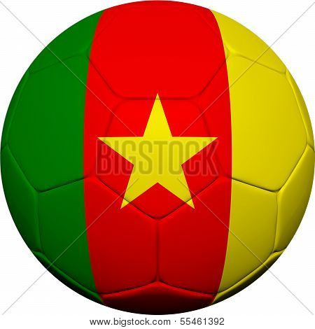 Cameroonian Flag With Soccer Ball