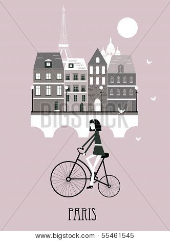 Girl On A Bicycle In Paris