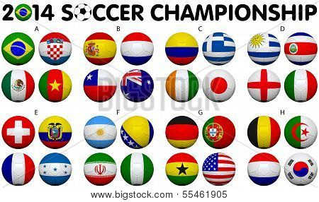 Soccer Championship 2014 Groups Flags