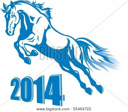 Vector blue horse for the new year 2014