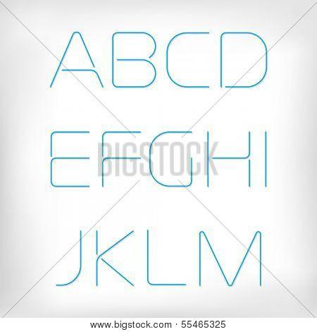 Modern minimal rounded font alphabet;  Sans-serif display elegant light font, vector alphabet letters design. Extra light, light, regular and bold versions included. Thin, light version
