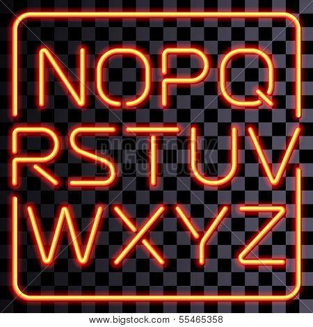 3D realistic neon letters. San-serif neon alphabet.