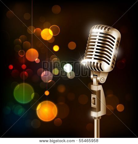 illustration of Vintage Microphone on abstract bokeh background