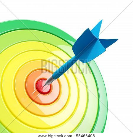 Colorful Dartboard With A Dart In The Center