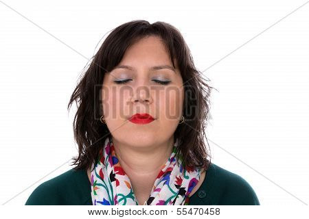 Young Business Woman Closed Her Eyes Relaxing