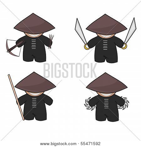 Vector of a cute ninja