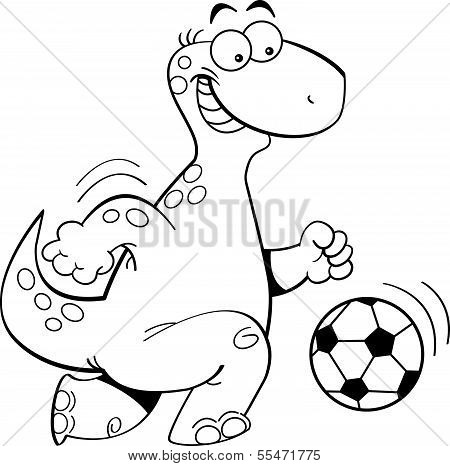 Cartoon dinosaur playing soccer