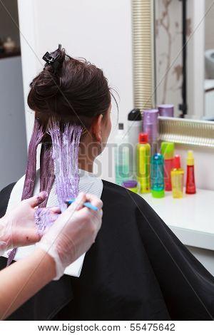 Friseur anwenden von Farbe-Kundin im Salon, Haare färben zu tun