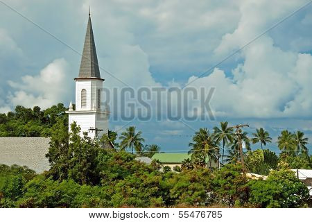 Mokuaikaua Church In Kona On Big Island Of Hawaii