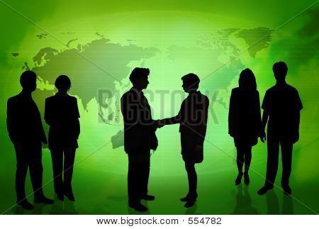 Business People In Front Of A World Map Green