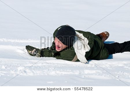 Teen Laughing In Snow