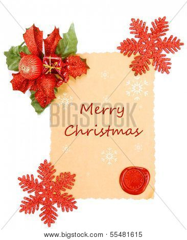Frame with vintage paper and Christmas decorations isolated on white