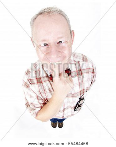 Cross Eyed Adult Man Isolated On White