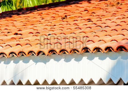 Brown Clay Tile Roof Closeup