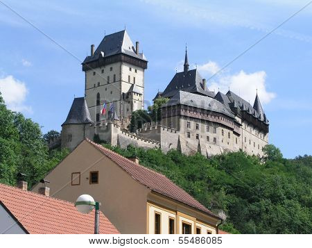Image of an old gothic castle, Karlstejn Castle