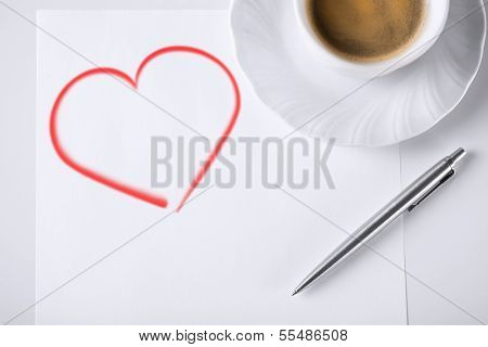 business and love concept - blank paper for note, pen and coffee