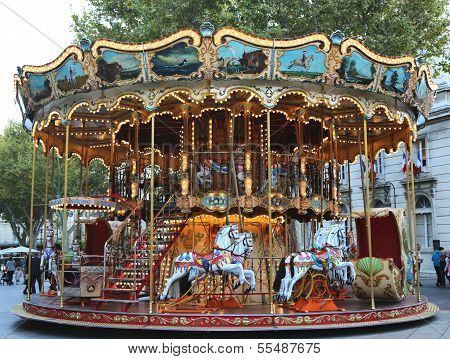 Traditional fairground carousel in Avignon, France
