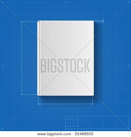 The book, drawing with dimensions, book cover