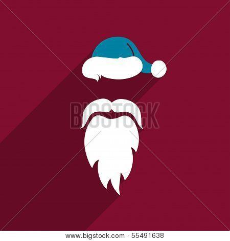 Flat Design Vector Santa Claus Face. Icon. Greeting Card.